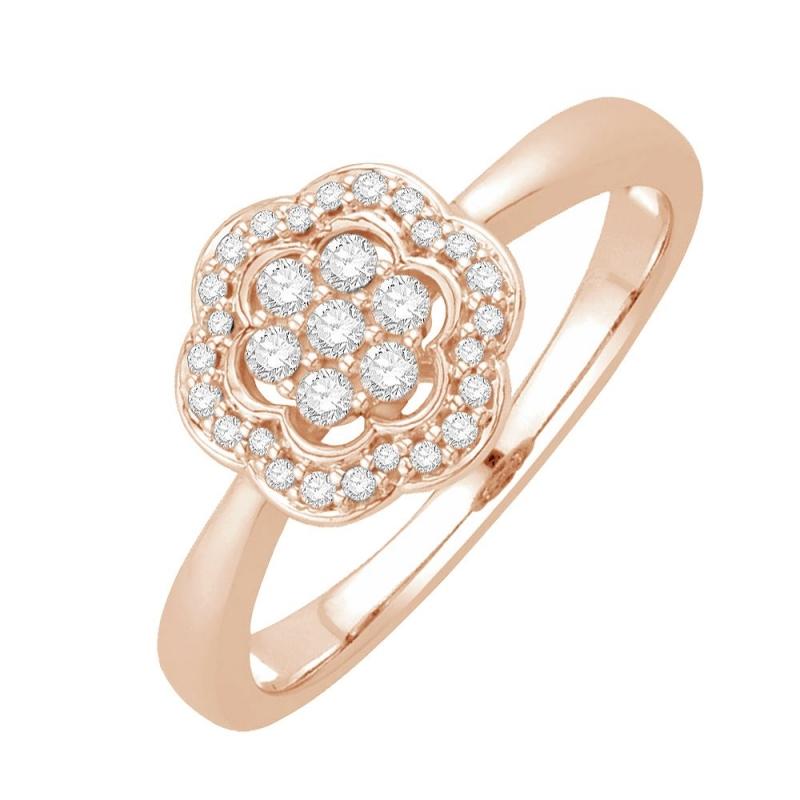 Bague or rose 9 carats, Diamants, Jaina