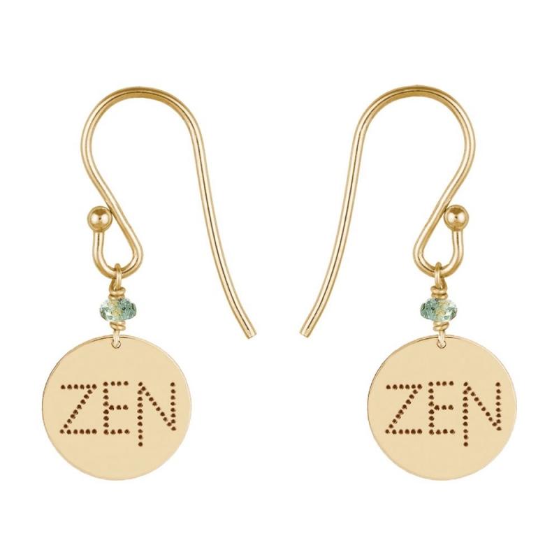 Boucles d'oreilles médaille Or jaune, Saphir vert , Zen