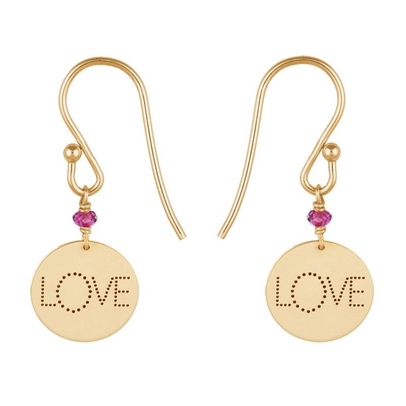 9k Yellow Gold Pink Garnet Medal Earrings, Love