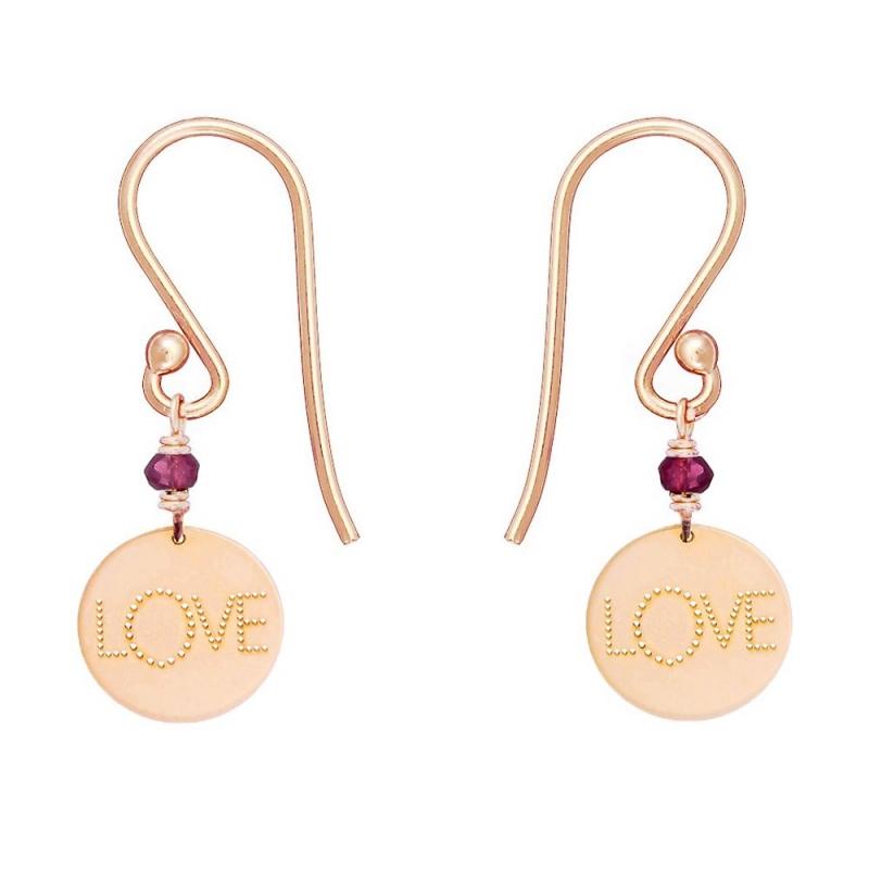 9k Pink Gold Garnet Medal Earrings, Love