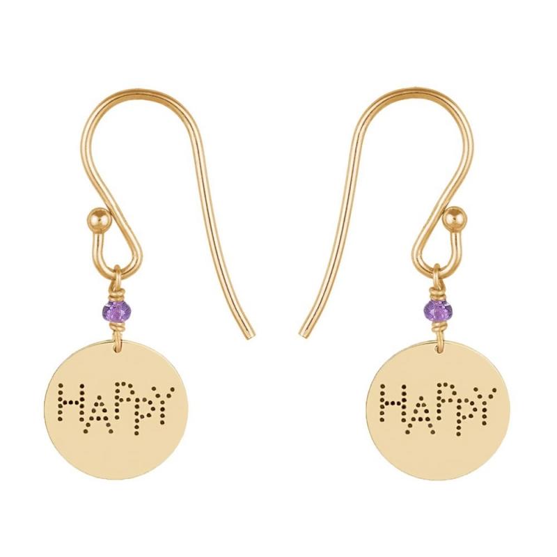 9k Yellow Gold Amethyst Medal Earrings, Happy