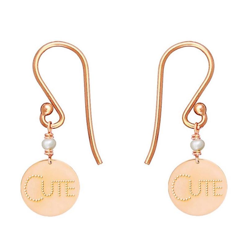 9k Pink Gold Freshwater Pearl Medal Earrings, Cute