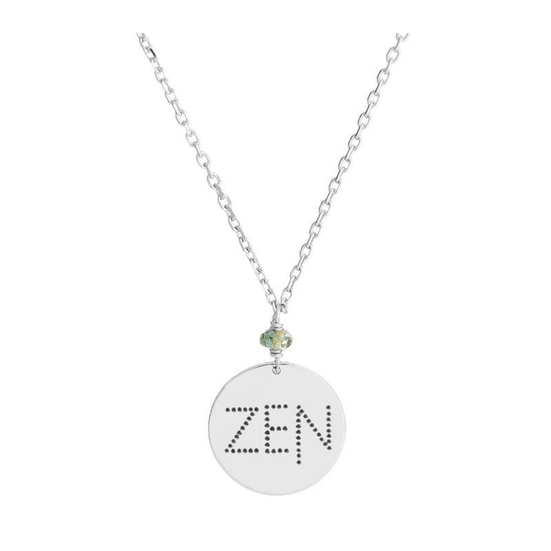Collier médaille Argent, Saphir vert , Zen