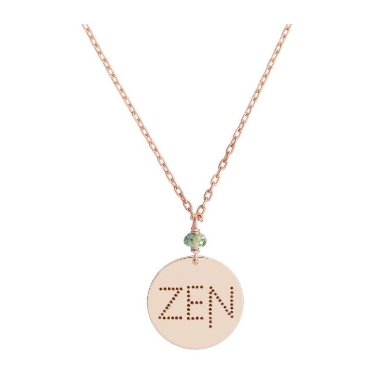 Collier médaille Or rose, Saphir vert , Zen