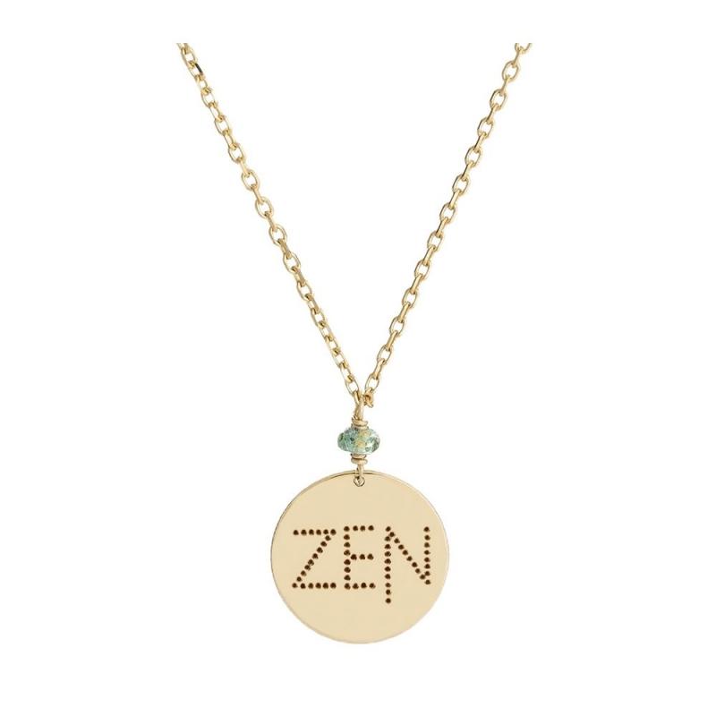 Collier médaille Or jaune, Saphir vert , Zen