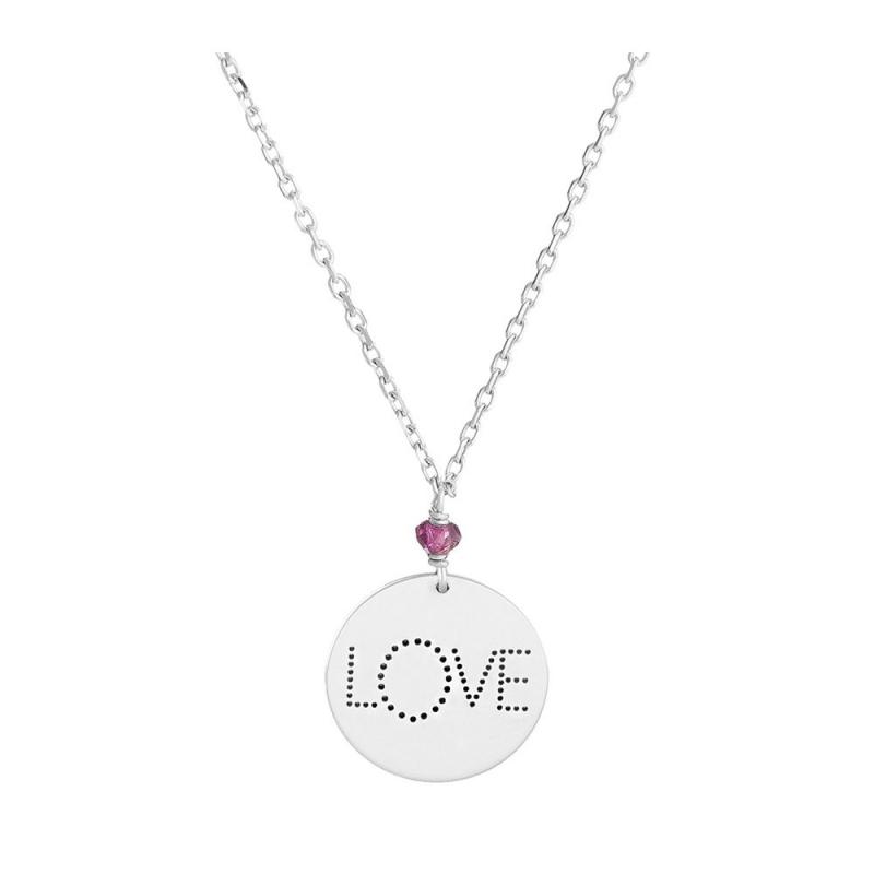 Collier médaille Argent, Grenat rose , Love