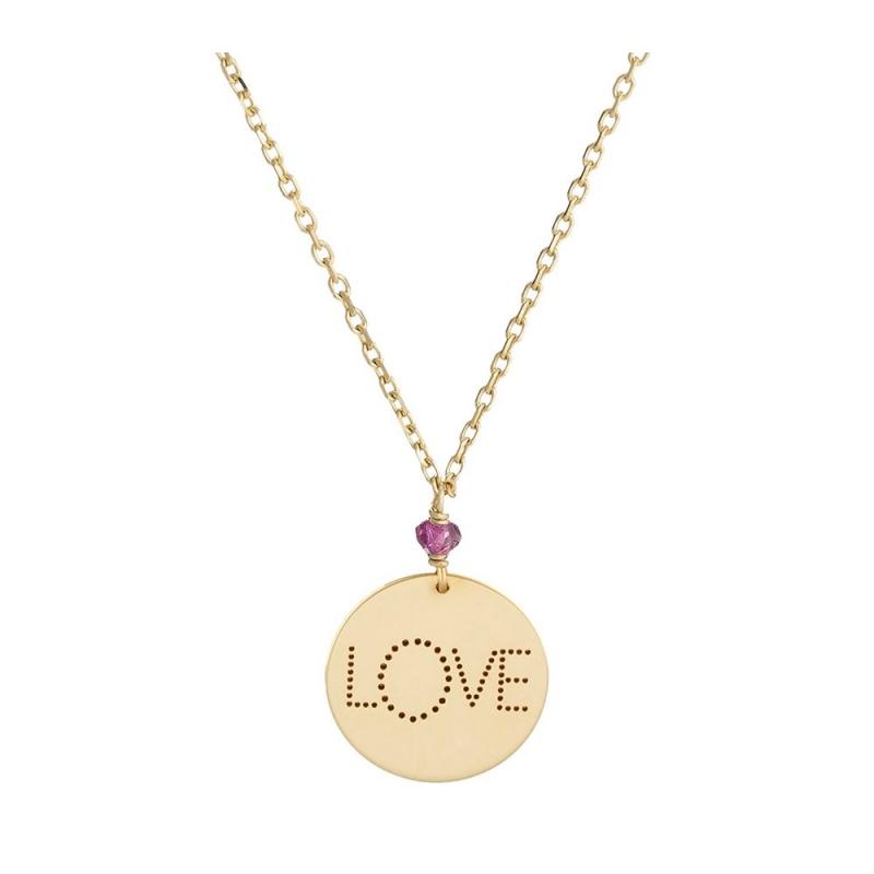 Collier médaille Or jaune, Grenat rose , Love