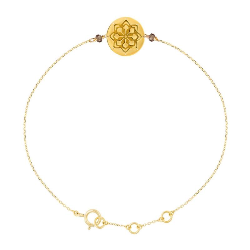 Bracelet médaille Or jaune, Quartz fum? , Doria
