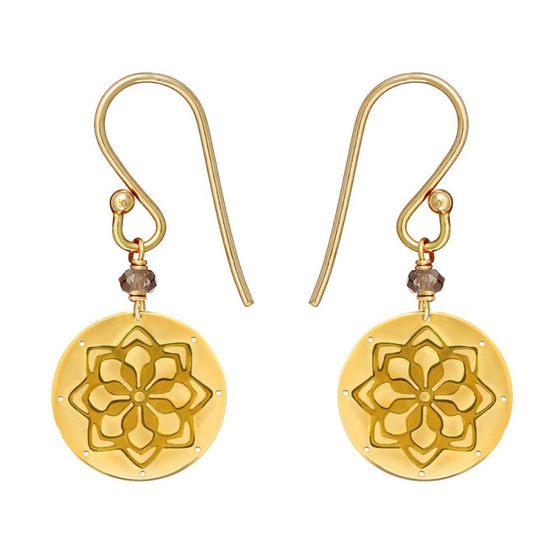 9k Yellow Gold Smoky Quartz Medal Earrings, Doria