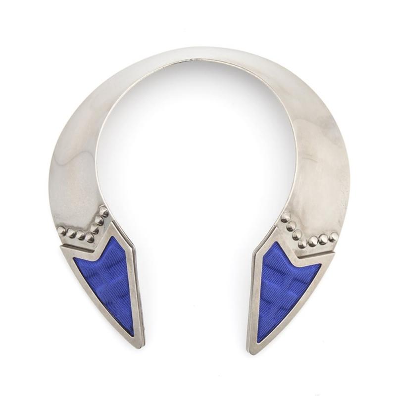 Collier maille bleue, Palladium , Inverted Vintage