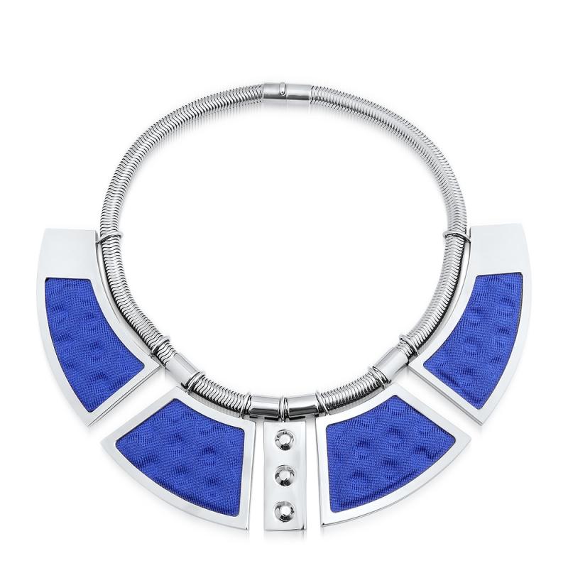 Collier maille bleue, Ruthénium , Geometrie