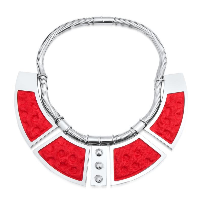 Collier maille rouge, Palladium , Geometrie