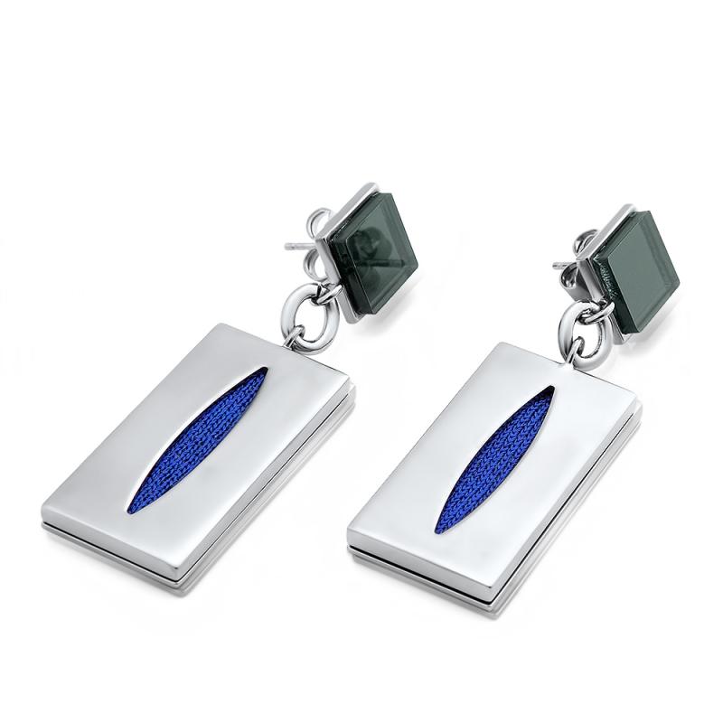 Boucles d'oreilles maille bleue, Palladium , Capsul