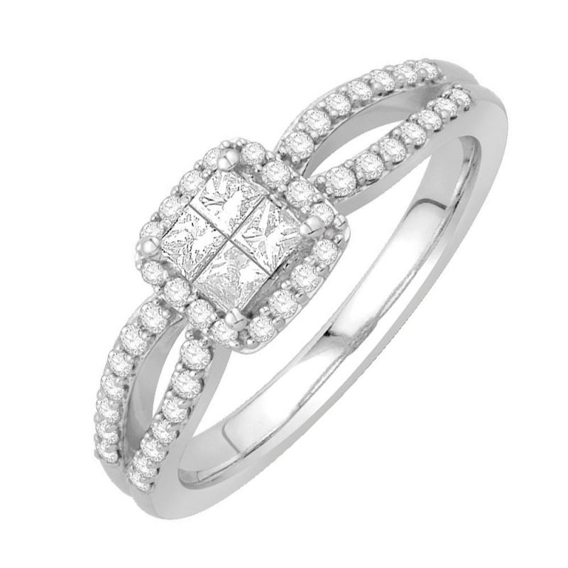 18k White Gold Diamond Ring , Madison