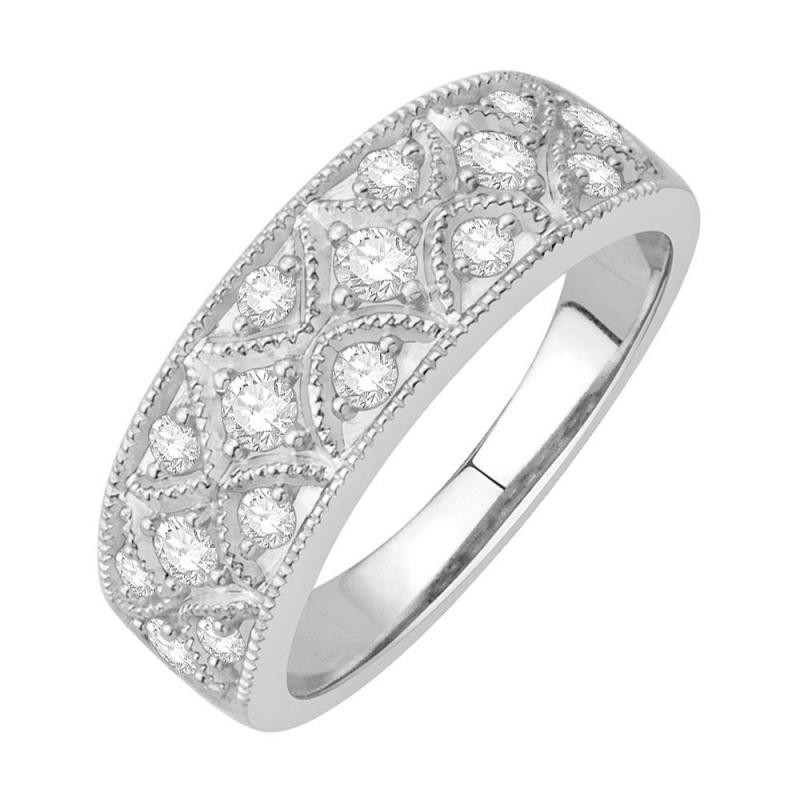 18k White Gold Diamond Ring , Melrose
