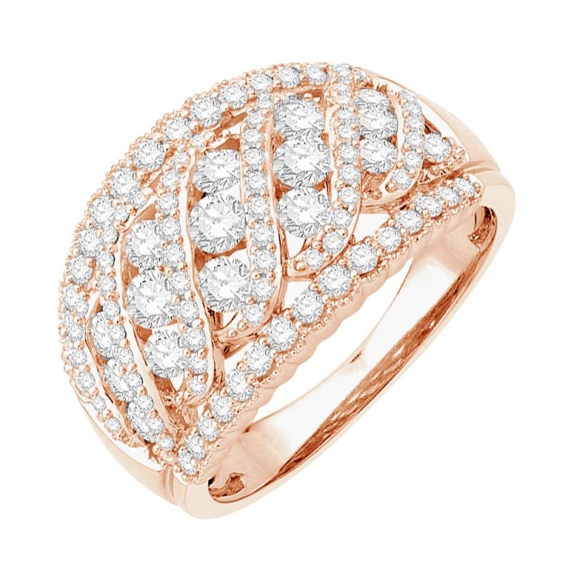 18k Rose Gold Diamond Ring , Sunset Boulevard