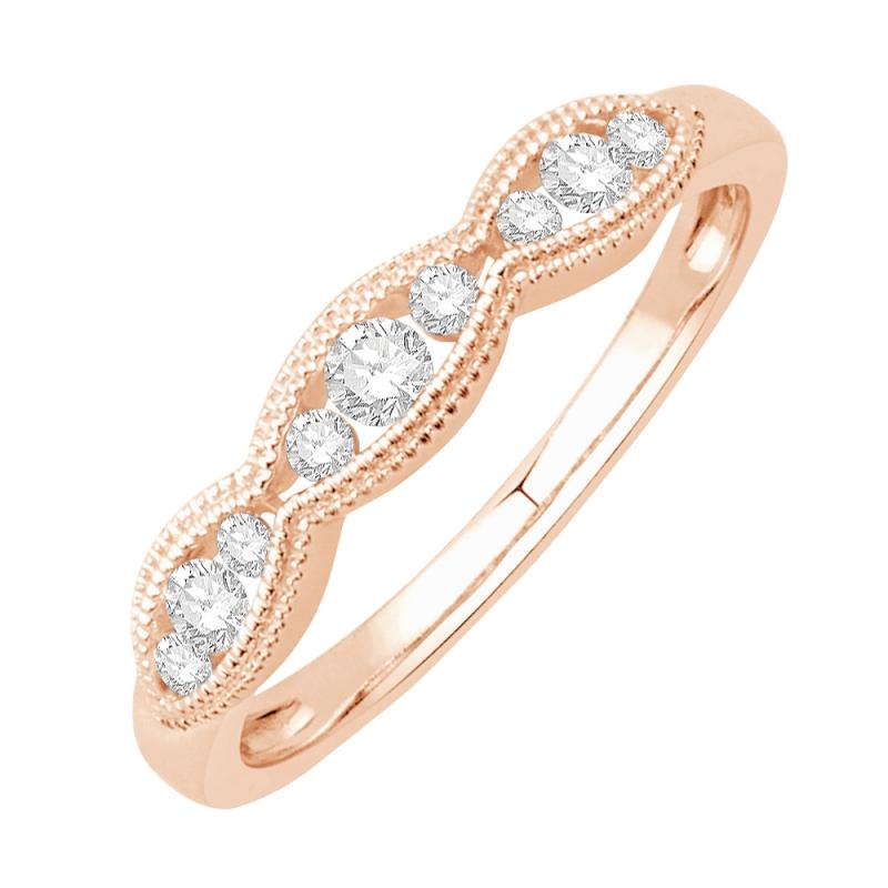 Bague alliance or rose 9 carats, Diamants, Ballerine