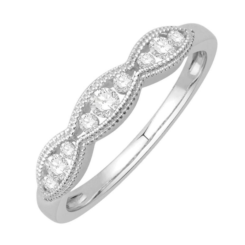Bague alliance or blanc 9 carats, Diamants, Ballerine