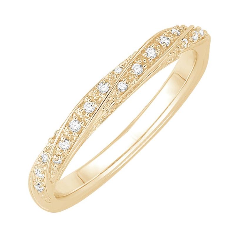 Bague alliance or jaune 9 carats, Diamants, Bettina