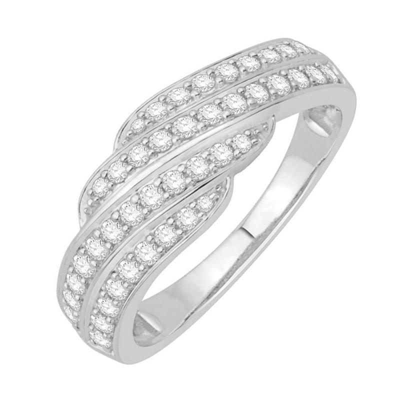 Bague or blanc 9 carats, Diamants, Capri