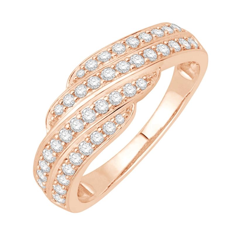 Bague alliance or rose 9 carats, Diamants, Capri