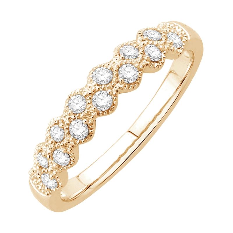 Bague alliance or jaune 9 carats, Diamants, Carioca