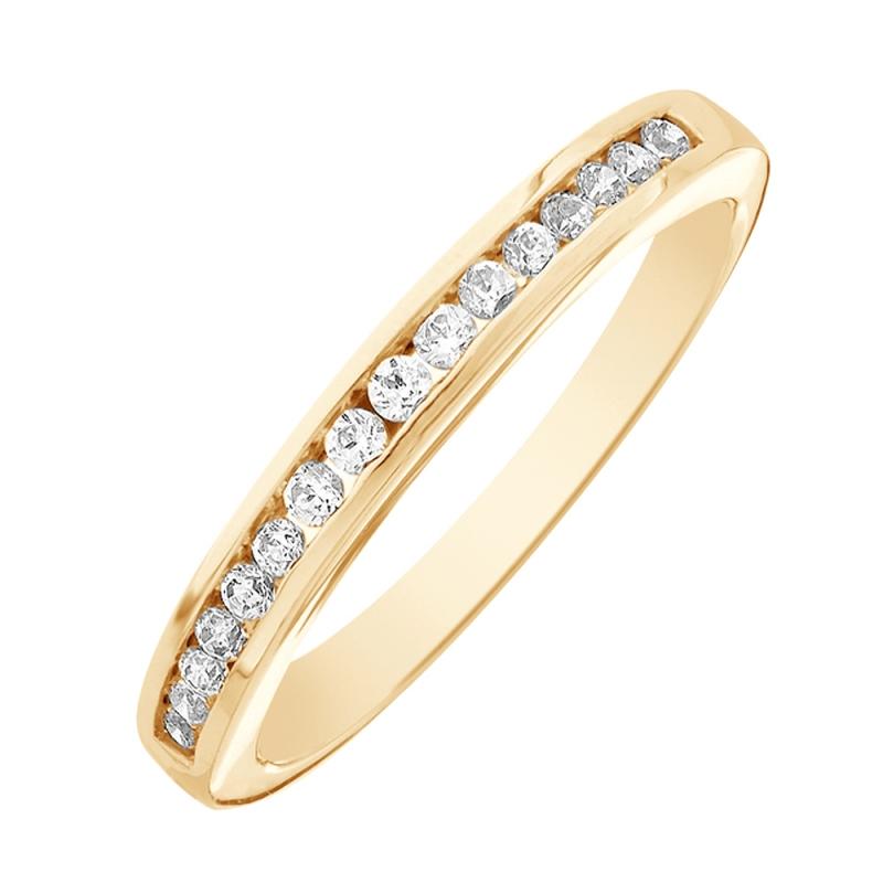 Bague alliance or jaune, Diamants , Cassandre 0.10 Ct