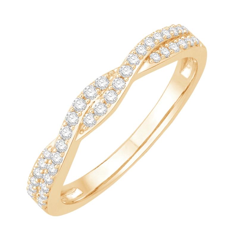 Bague alliance or jaune, Diamants , Twisted