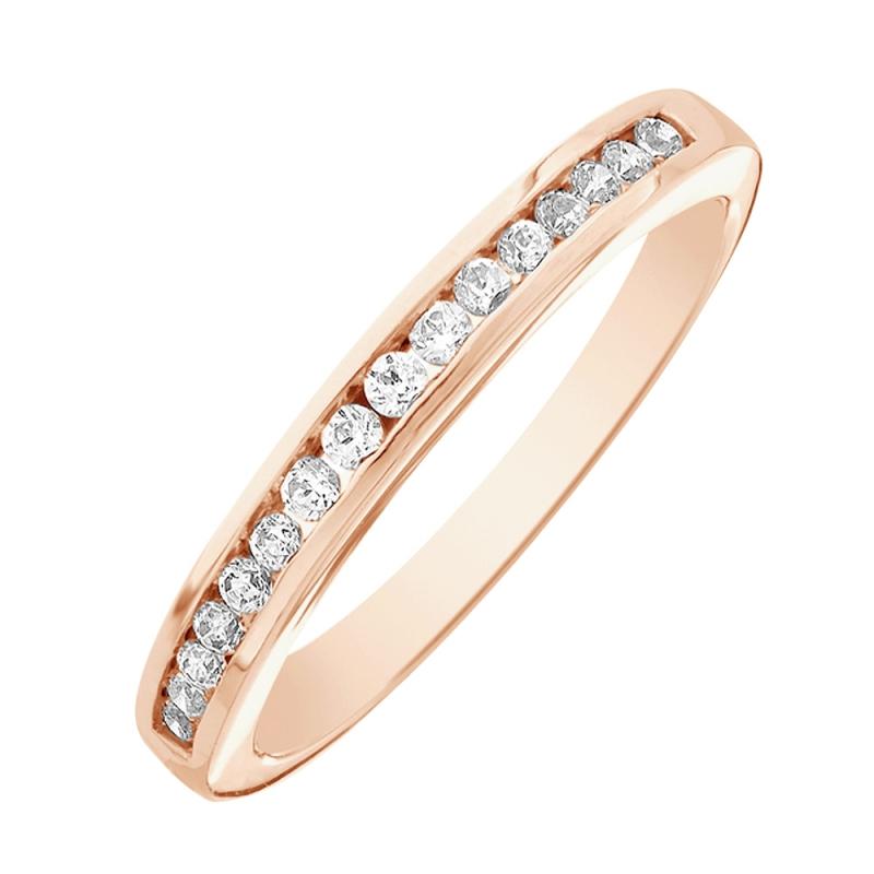 Bague alliance or rose, Diamants , Cassandre 0.10 Ct