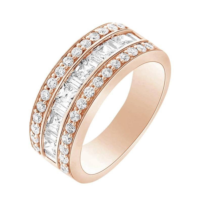 Bague alliance or rose 9 carats, Diamants, Daisie