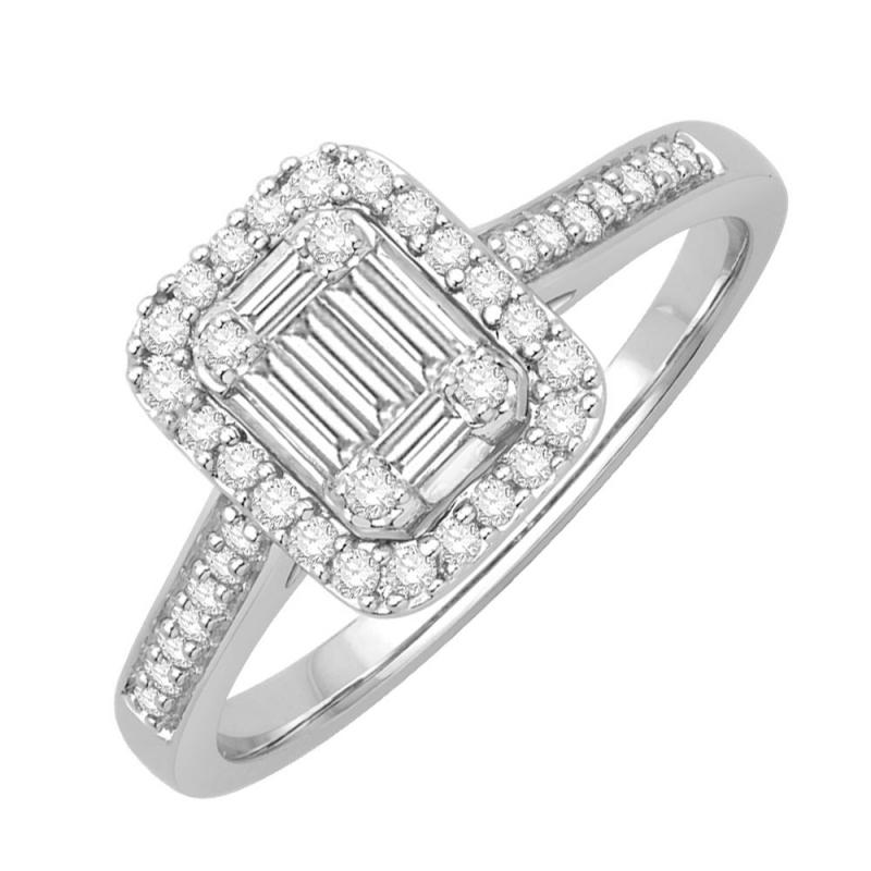 Bague or blanc 9 carats, Diamants, Dolores