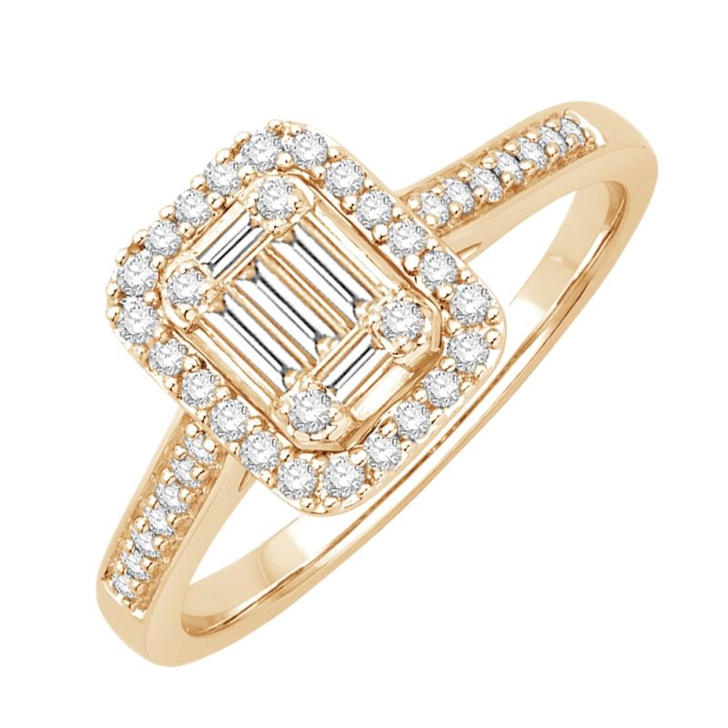 Bague or jaune 9 carats, Diamants, Dolores