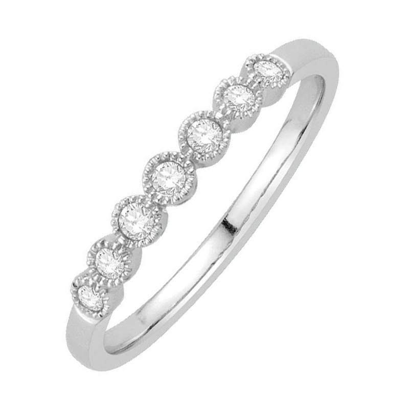 Bague alliance or blanc 9 carats, Diamants, Ellis