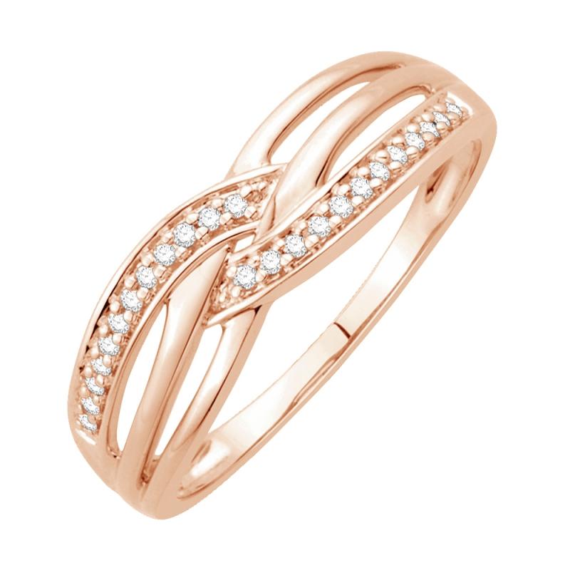 Bague or rose 9 carats, Diamants, Emmène-moi