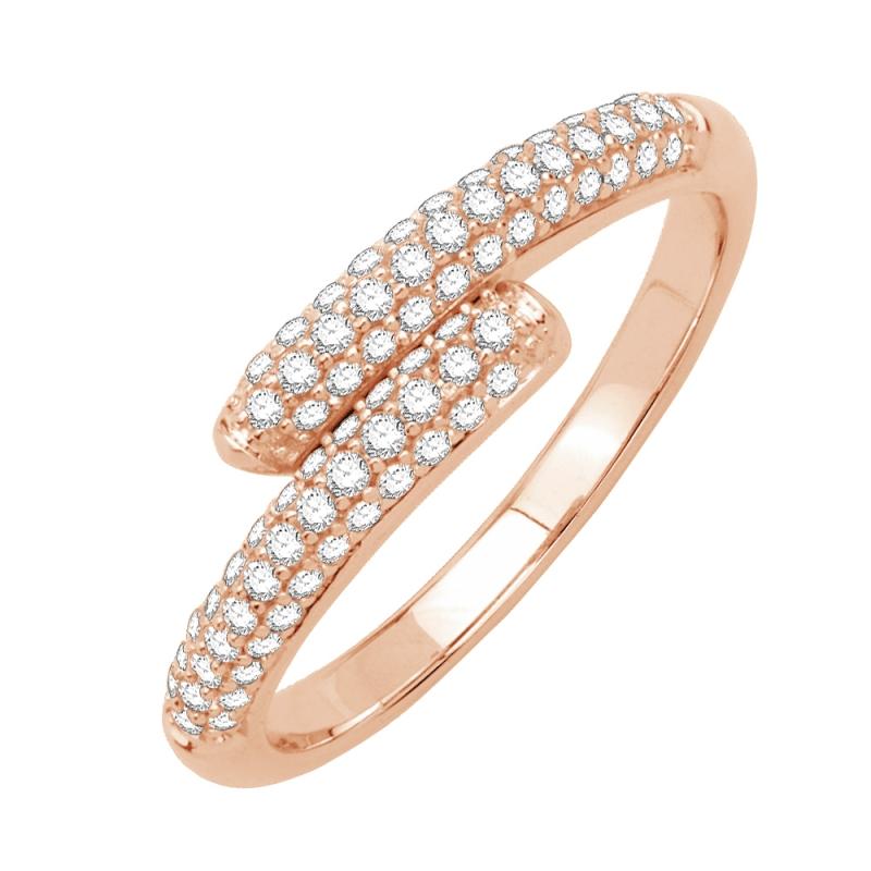 Bague or rose 9 carats, Diamants, Estrella