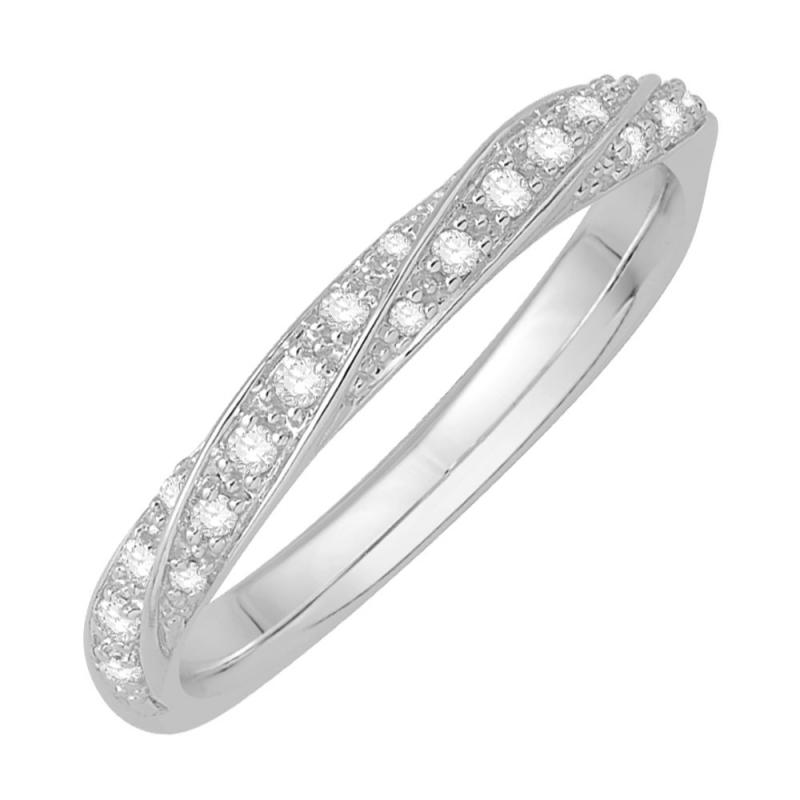 Bague alliance or blanc 9 carats, Diamants, Ethel