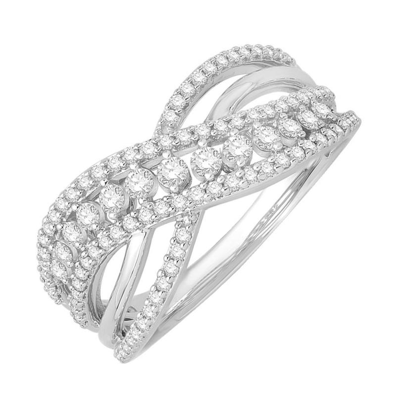 Bague or blanc 9 carats, Diamants, Famosa