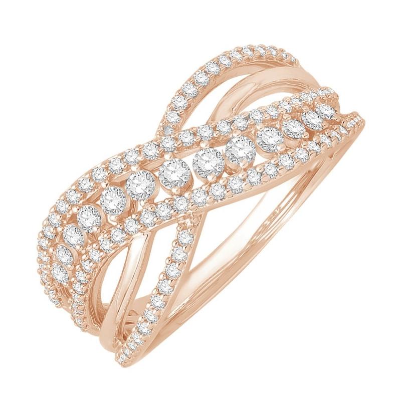 Bague or rose 9 carats, Diamants, Famosa