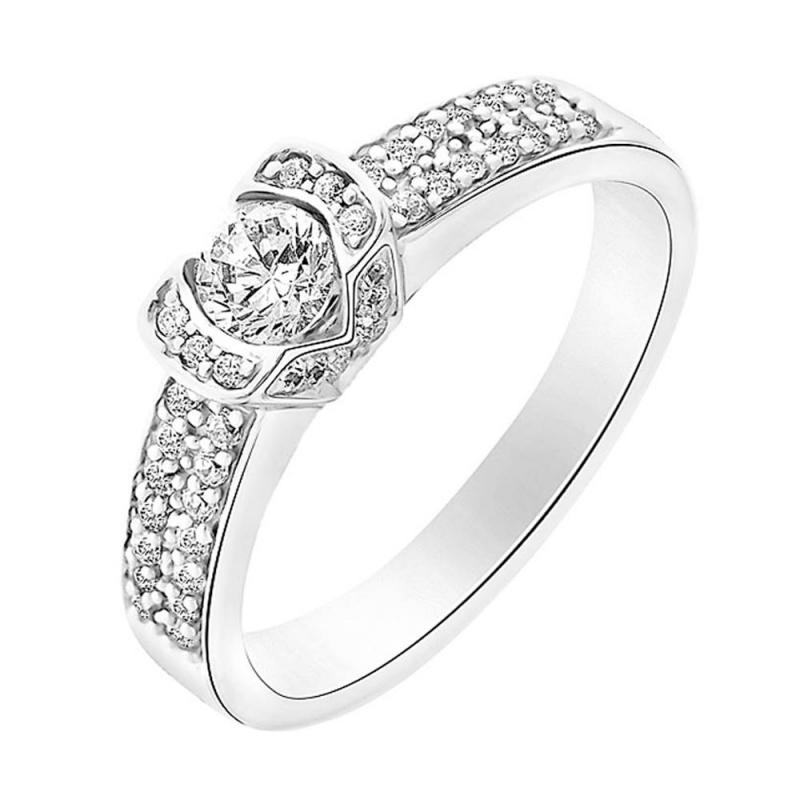 Bague or blanc 9 carats, Diamants, Farouche