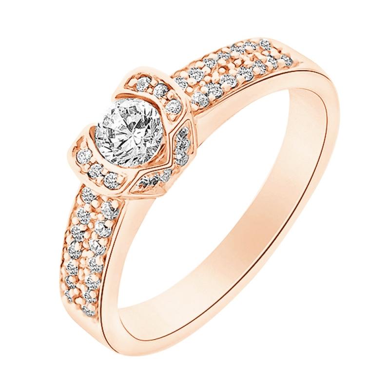 Bague or rose 9 carats, Diamants, Farouche