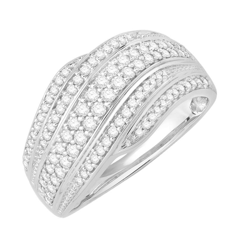Bague or blanc 9 carats, Diamants, Flamboyante