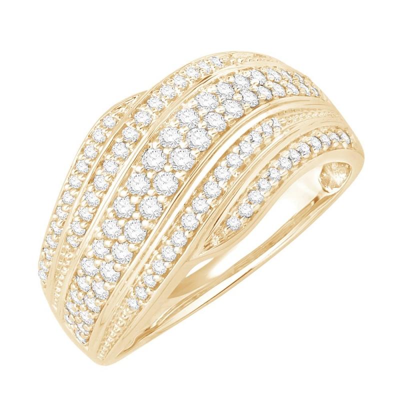 Bague or jaune 9 carats, Diamants, Flamboyante