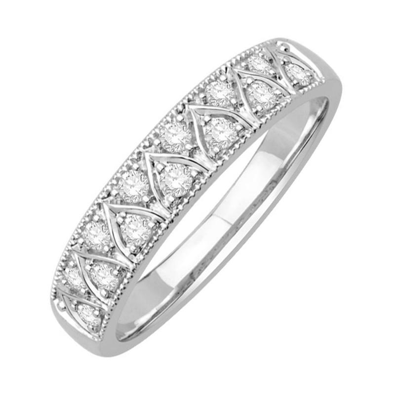 Bague alliance or blanc 9 carats, Diamants, Galia
