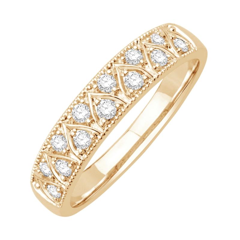 Bague alliance or jaune 9 carats, Diamants, Galia