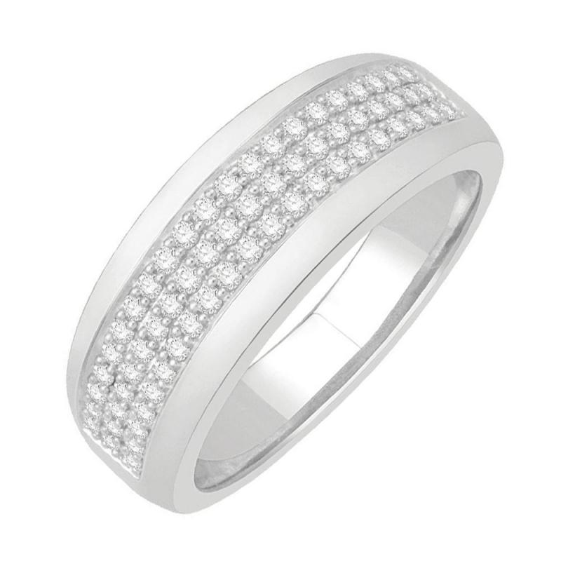 Bague alliance or blanc 9 carats, Diamants, Héloise