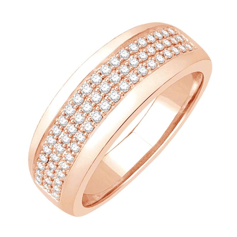 Bague alliance or rose 9 carats, Diamants, Héloise