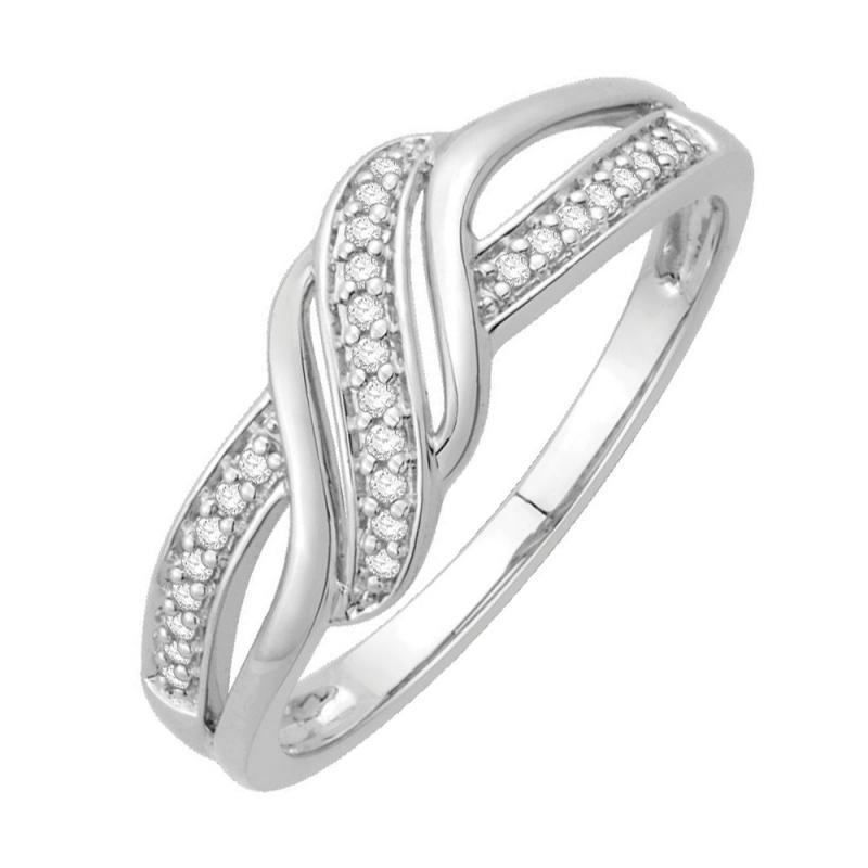 Bague or blanc 9 carats, Diamants, Hermine