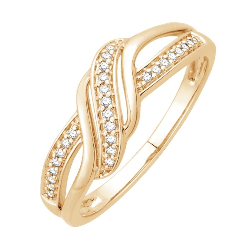 Bague or jaune 9 carats, Diamants, Hermine