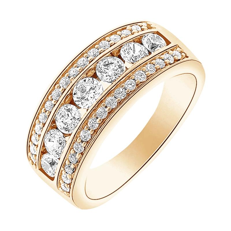 Bague alliance or jaune 9 carats, Diamants, Ipanema