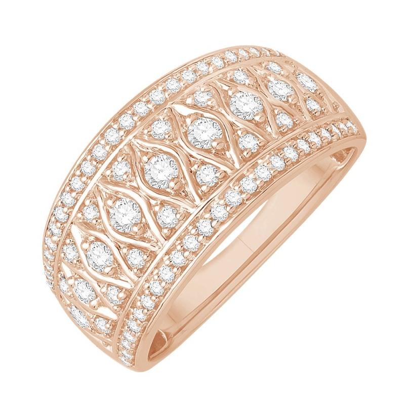 Bague or rose 9 carats, Diamants, Joueuse